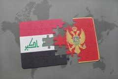 verwirren Sie mit der Staatsflagge vom Irak und von Montenegro auf einem Weltkartehintergrund Stockbild