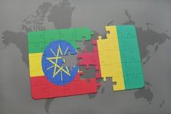 verwirren Sie mit der Staatsflagge von Äthiopien und von Guine auf einer Weltkarte stock abbildung