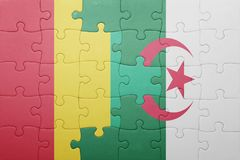 verwirren Sie mit der Staatsflagge von Algerien und von Guine lizenzfreie stockfotografie