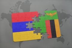 verwirren Sie mit der Staatsflagge von Armenien und von Sambia auf einer Weltkarte Lizenzfreies Stockbild