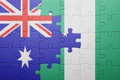 verwirren Sie mit der Staatsflagge von Australien und von Nigeria stockfoto