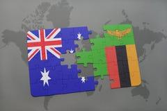 verwirren Sie mit der Staatsflagge von Australien und von Sambia auf einem Weltkartehintergrund Lizenzfreies Stockbild