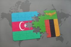 verwirren Sie mit der Staatsflagge von Azerbaijan und von Sambia auf einer Weltkarte Lizenzfreie Stockfotos