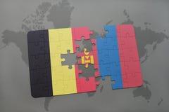 verwirren Sie mit der Staatsflagge von Belgien und von Mongolei auf einem Weltkartehintergrund Stockfoto