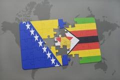 verwirren Sie mit der Staatsflagge von Bosnien und Herzegowina und von Simbabwe auf einer Weltkarte Lizenzfreie Stockfotos