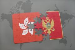 verwirren Sie mit der Staatsflagge von Hong Kong und von Montenegro auf einem Weltkartehintergrund Stockbild