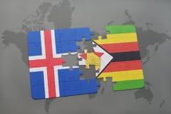verwirren Sie mit der Staatsflagge von Island und von Simbabwe auf einer Weltkarte Stockfoto
