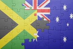 Verwirren Sie mit der Staatsflagge von Jamaika und von Australien Stockfotografie