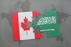 verwirren Sie mit der Staatsflagge von Kanada und von Saudi-Arabien auf einem Weltkartehintergrund vektor abbildung