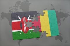 verwirren Sie mit der Staatsflagge von Kenia und von Guine auf einer Weltkarte lizenzfreie abbildung