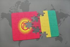 verwirren Sie mit der Staatsflagge von Kirgisistan und von Guine auf einer Weltkarte vektor abbildung