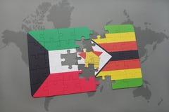 verwirren Sie mit der Staatsflagge von Kuwait und von Simbabwe auf einer Weltkarte Lizenzfreie Stockfotos