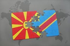 verwirren Sie mit der Staatsflagge von Macedonia und von Demokratische Republik Kongo auf einer Weltkarte Stockfotos