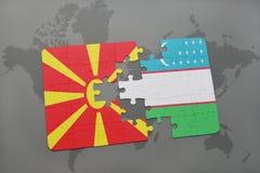 verwirren Sie mit der Staatsflagge von Macedonia und von Usbekistan auf einer Weltkarte Stockfotos