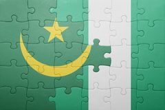 verwirren Sie mit der Staatsflagge von Mauretanien und von Nigeria Stockfoto