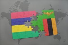 verwirren Sie mit der Staatsflagge von Mauritius und von Sambia auf einer Weltkarte Stockbild