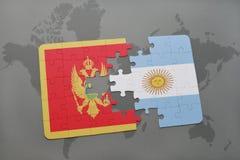 verwirren Sie mit der Staatsflagge von Montenegro und von Argentinien auf einer Weltkarte Stockfoto