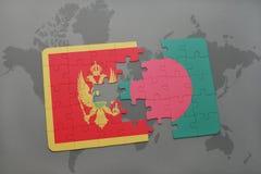 verwirren Sie mit der Staatsflagge von Montenegro und von Bangladesch auf einer Weltkarte Stockbild