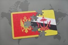 verwirren Sie mit der Staatsflagge von Montenegro und von Brunei auf einer Weltkarte Lizenzfreie Stockfotos