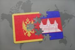 verwirren Sie mit der Staatsflagge von Montenegro und von Kambodscha auf einer Weltkarte Lizenzfreies Stockbild