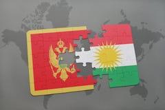 verwirren Sie mit der Staatsflagge von Montenegro und von Kurdistan auf einer Weltkarte Stockbild