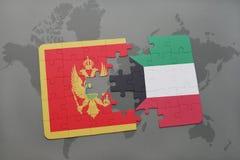 verwirren Sie mit der Staatsflagge von Montenegro und von Kuwait auf einer Weltkarte Stockbilder