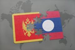 verwirren Sie mit der Staatsflagge von Montenegro und von Laos auf einer Weltkarte Lizenzfreie Stockfotografie