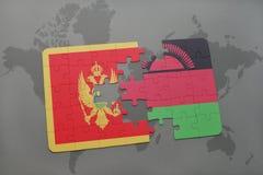 verwirren Sie mit der Staatsflagge von Montenegro und von Malawi auf einer Weltkarte Lizenzfreie Stockfotografie