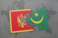 verwirren Sie mit der Staatsflagge von Montenegro und von Mauretanien auf einer Weltkarte Stockfotografie