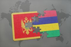 verwirren Sie mit der Staatsflagge von Montenegro und von Mauritius auf einer Weltkarte Lizenzfreies Stockbild