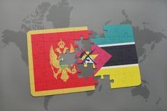 verwirren Sie mit der Staatsflagge von Montenegro und von Mosambik auf einer Weltkarte Stockbilder