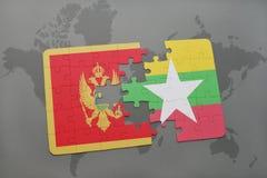 verwirren Sie mit der Staatsflagge von Montenegro und von Myanmar auf einer Weltkarte Lizenzfreies Stockbild