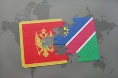 verwirren Sie mit der Staatsflagge von Montenegro und von Namibia auf einer Weltkarte Stockbilder