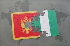 verwirren Sie mit der Staatsflagge von Montenegro und von Nigeria auf einer Weltkarte Lizenzfreie Stockfotos
