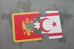verwirren Sie mit der Staatsflagge von Montenegro und von Nord-Zypern auf einer Weltkarte Stockbild