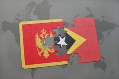 verwirren Sie mit der Staatsflagge von Montenegro und von Osttimor auf einer Weltkarte Stockfotos