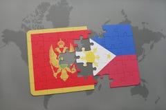 verwirren Sie mit der Staatsflagge von Montenegro und von Philippinen auf einer Weltkarte Stockbild