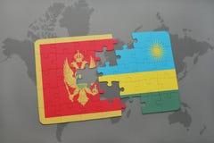 verwirren Sie mit der Staatsflagge von Montenegro und von Ruanda auf einer Weltkarte Stockfoto
