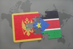 verwirren Sie mit der Staatsflagge von Montenegro und von Süd-Sudan auf einer Weltkarte Stockfoto