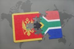 verwirren Sie mit der Staatsflagge von Montenegro und von Südafrika auf einer Weltkarte Lizenzfreie Stockfotos