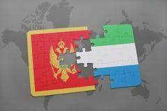 verwirren Sie mit der Staatsflagge von Montenegro und von Sierra Leone auf einer Weltkarte Stockfotografie
