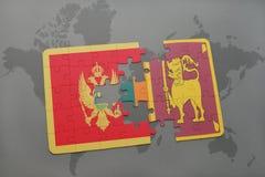 verwirren Sie mit der Staatsflagge von Montenegro und von Sri Lanka auf einer Weltkarte Stockfoto
