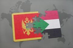 verwirren Sie mit der Staatsflagge von Montenegro und von Sudan auf einer Weltkarte Lizenzfreies Stockbild
