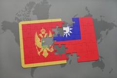 verwirren Sie mit der Staatsflagge von Montenegro und von Taiwan auf einer Weltkarte Stockfotos