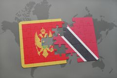 verwirren Sie mit der Staatsflagge von Montenegro und von Trinidad and Tobago auf einer Weltkarte Lizenzfreies Stockbild