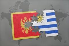 verwirren Sie mit der Staatsflagge von Montenegro und von Uruguay auf einer Weltkarte Lizenzfreie Stockbilder