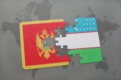 verwirren Sie mit der Staatsflagge von Montenegro und von Usbekistan auf einer Weltkarte Lizenzfreies Stockbild