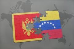 verwirren Sie mit der Staatsflagge von Montenegro und von Venezuela auf einer Weltkarte Lizenzfreie Stockfotos