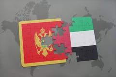 verwirren Sie mit der Staatsflagge von Montenegro und von Vereinigten Arabischen Emiraten auf einer Weltkarte Stockfotografie