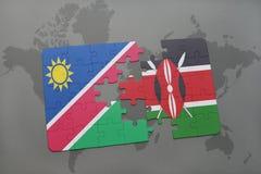 verwirren Sie mit der Staatsflagge von Namibia und von Kenia auf einer Weltkarte Lizenzfreies Stockfoto